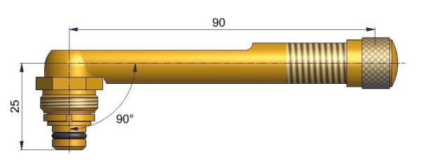 EM Universalventil ohne Fuß gebogen 25/90 mm 90°