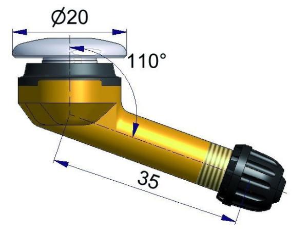 LKW Metallventil 70° gebogen 35 x 16,0 mm