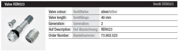TPMS Ventil RDV023 silber Gen. 2