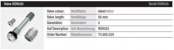 TPMS Ventil RDV025 silber Gen. 2