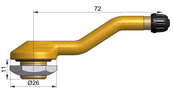 LKW Metallventil 3-fach gebogen 72/11 x 16,0 mm
