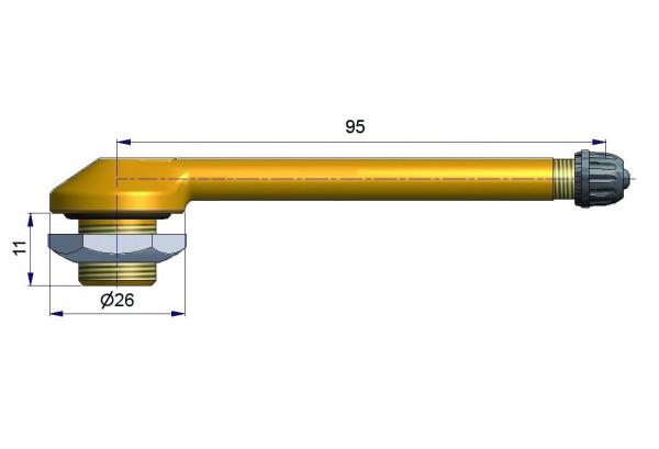 LKW Metallventil gebogen 95/11 x 16,0 mm