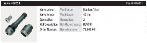 TPMS Ventil RDV031 titan Gen. 2