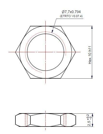 Mutter für Ventilverlängerung VG8 / HEX10 / 2,5 mm