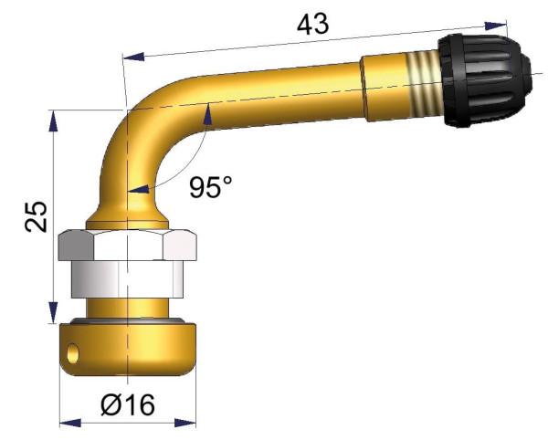 LKW Metallventil gebogen 25/43 x 9,7 mm 95°