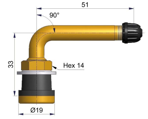 LKW Metallventil 90° gebogen 33/51 x 16,0 mm