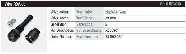 TPMS Ventil RDV030 schwarz Gen. 2