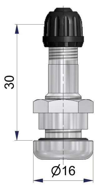 Metallventil PKW Messing vernickelt 9,7 mm V.-loch