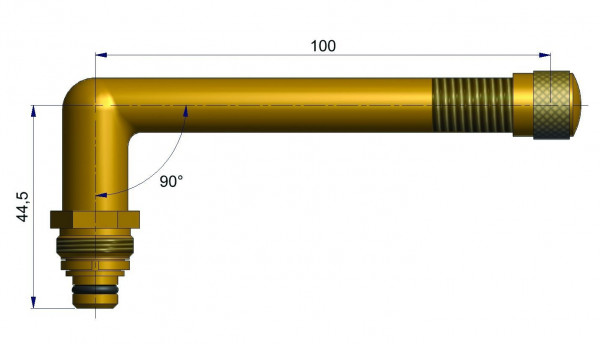 EM Universalventil ohne Fuß gebog. 44,5/100 mm 90°