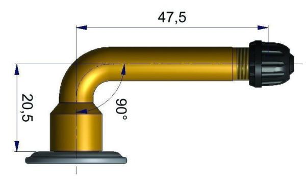 LKW Schlauchventil gebogen 20,5/47,5 mm 90°