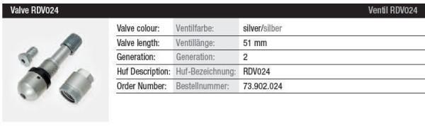 TPMS Ventil RDV024 silber Gen. 2