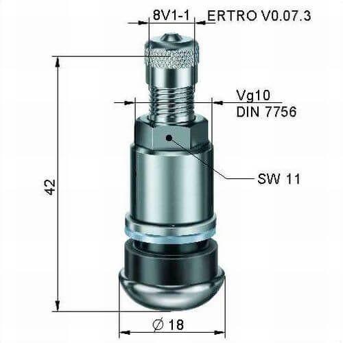 Ventil TR 416 S Messing verchromt / Alligator