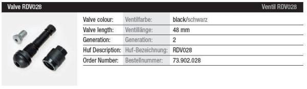 TPMS Ventil RDV028 schwarz Gen. 2