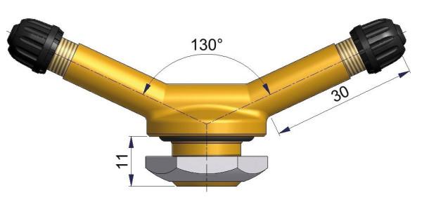 LKW-Doppel-Metallventil 130° gebogen 30 x 16,0 mm