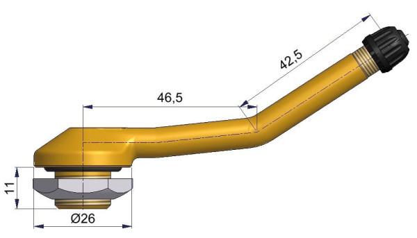 LKW Metallventil gebogen 46,5/42,5 x 16,0 mm