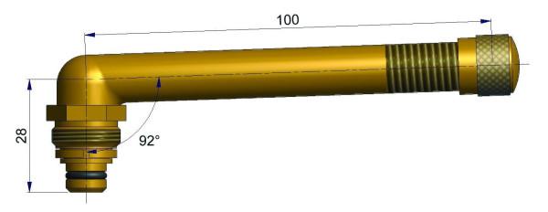 EM Universalventil ohne Fuß gebogen 28/100 mm 92°