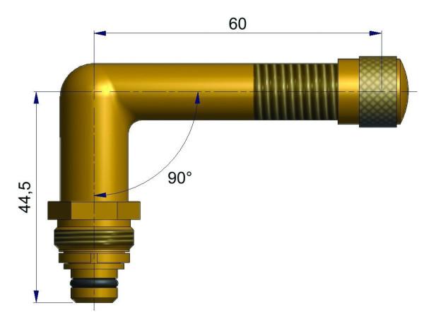 EM Universalventil ohne Fuß gebogen 44,5/60 mm 90°