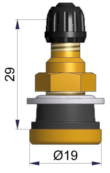 LKW Metallventil gerade 32 x 16,0 mm kurze Dicht.