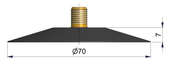 LKW Schlauchventilfuss 70 mm Heissvulkanisation