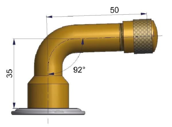 EM Schlauchventil gebogen 35/50 mm 92°