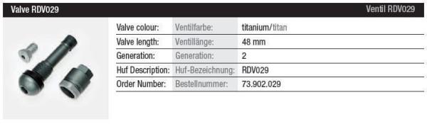 TPMS Ventil RDV029 titan Gen. 2