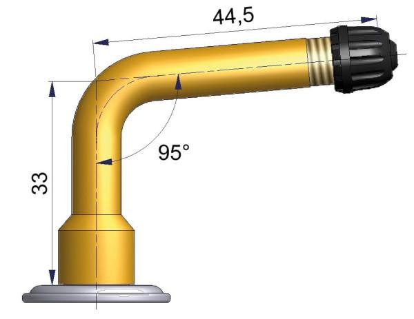 LKW Schlauchventil gebogen 33,0/44,5 mm 95°