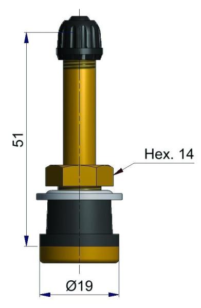 LKW Metallventil gerade 51 x 16,0 mm