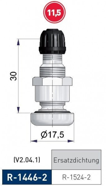 Metallventil PKW Leichtmetall 30 mm / 11,5