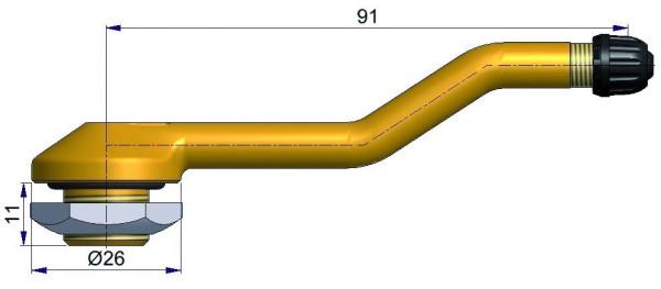 LKW Metallventil 3-fach gebogen 91/11 x 16,0 mm