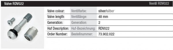 TPMS Ventil RDV022 silber Gen. 2