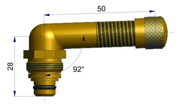 EM Universalventil ohne Fuß gebogen 28/50 mm 92°