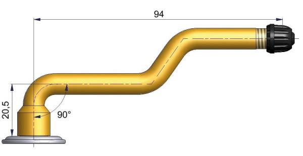 LKW Schlauchventil 3-fach gebogen