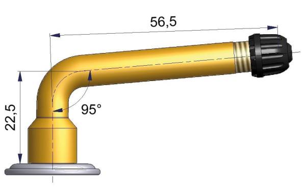 LKW Schlauchventil gebogen 22,5/56,5 mm 95°