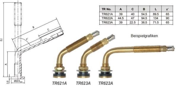Luft/Wasser-Metallventil gebogen TR 622 A