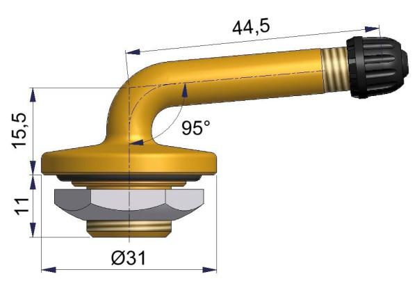 LKW Metallventil gebogen 15,5/44,5 x 20,5 mm